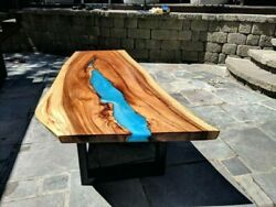 Blue Sofa Center Epoxy Coffee Table Walnut Wooden Furniture Decor Made To Order