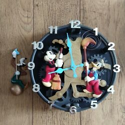 Telemania Disney's Clock Cleaners Animated Mickey Mouse Talking Wall Clock