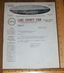 Vintage 1933 Signed Lake County Fair Letter Head Crown Point, Indiana/griffith