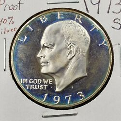 1973 S 1 Ike Eisenhower 40 Silver Eagle Dollar Coin Pq Blue Toning Dcam Proof