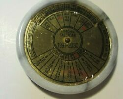 Vintage 40 Year Perpetual Nautical Theme 1991-2030 Desk Calendar Brass And Marble