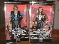 1999 Harley Davidson Motorcycle Barbie And Ken Doll Silver Edition