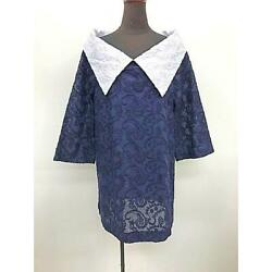 Big White Color Embroidered Classic Blouse Navy Cotton Blouse