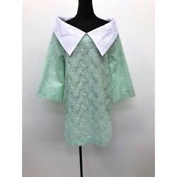 Big Color Total Embroidery Classic Blouse Green Cotton