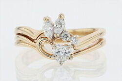 .45ctw Diamond Solitaire With Accent Wedding Set Ring 14k Yellow Gold Size 6
