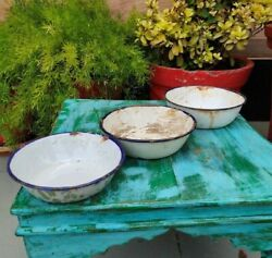 Collectible White Rustic Enamel Porcelain Kitchenware Dining Bowls Set Of 3