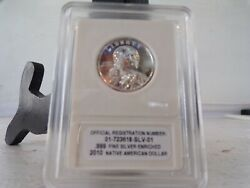 2010 Sacagawea .999 Fine Silver Enriched Dollar Slabbed Coin Mint Uncirc