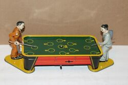Very Nice Vintage 1950and039s Ranger Toys Tin Wind Up Billiards Pool Table 2-players