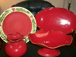 Ieuc Southern Living Home Willow Cinnabar Platter Footed Server Vase Xmas Plate