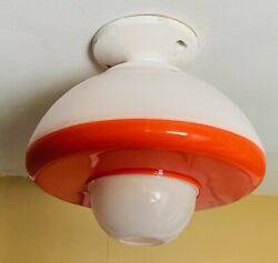Vintage Orange And White Retro Space Age Hard Plastic Ceiling Light Shade/cover