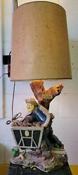 1980 Apsit Bros Brothers Gold Miner Prospector Chalkware Table Lamp Panning West