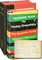 Paddy Chayefsky Television Plays The Bachelor Party Printerand039s Signed 1st 145553