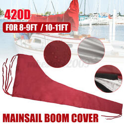 For 8-9ft /10-11ft Mainsail Boom Sail Cover Protector Waterproof Fabric Red 420d