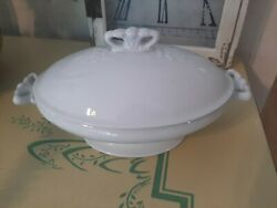 Antique Anthony Shaw Ironstone White Bowl With Lid
