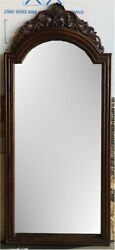 Antique Full Length Wooden Frame Mirror Carved Arched Trim Top No Legs/stand