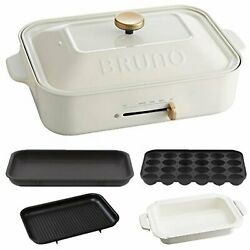 Bruno Compact Hot Plate Flat And Takoyaki And Pan And Grill Plate White Boe021-wh F/s