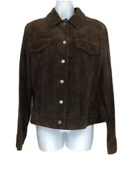 Lord And Taylor Brushed Brown Leather Suede Jacket Womens Patchwork Lg Read