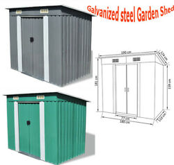 Garden Metal Storage Shed With Double Sliding Doors With 2 Vents Outdoor