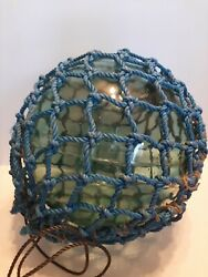 Xxl 15 Inch Antique Japanese Glass Fishing Float With Blue Net D2