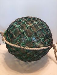 Xxl 15 Inch Antique Japanese Glass Fishing Float With Green And Gray Net D3