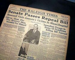 Ending Prohibition 18th Amendment Repeal Liquor And Beer To Return 1933 Newspaper