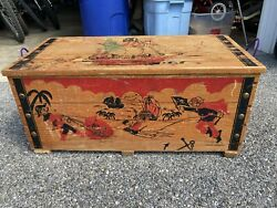 Vintage Cass Toys Wood Pirate Ship Treasure Chest Toy Box Bench Bin