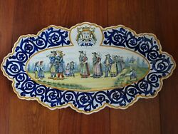 Amazing Plater Dish French Faience Henriot Quimper Circa 1920s' Lenght 20,66
