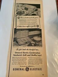 Vintage 1950 General Electric Sandwich Grill And Waffle Iron Ad