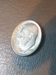 1978 Roosevelt Dime No Mint Mark. Bubbly Lettersanddate. Double Die. One Of Kind