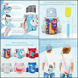 Sleeve Set Water Bottle Carrier For Kids With Straps Clean Brush And Straw Gift