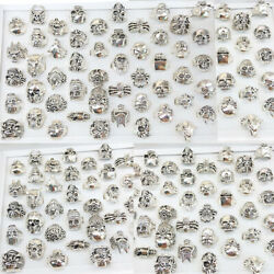 Wholesale 25/50pcs Lots Gothic Punk Skull Antique Rings Mixed Style Jewelry Us