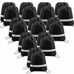 20 Pieces Black Drawstring Backpack Bags in Bulk Reflective Sports Gym String $37.50