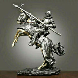 Medieval Knight Armor Cavalry Horse Home Room Office Cabinet Collectible Statues