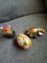 3 Total Cloisonne Figurines One Owl,one Turtle Trinket His,one Egg Two Ion Stand