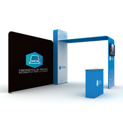 10ft Trade Show Display Booth System With Counter Tv Bracket Custom Print