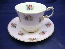 Vintage Elizabethan Tea Cup And Saucer -pale Pink White And Small Floral Decoration