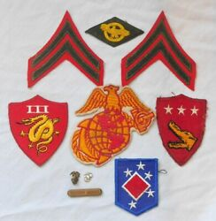 Wwii Usmc Grouping Patches Ega Rank Insignia Sweetheart Pins Second Award Clasp