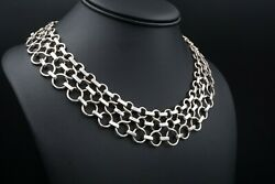 Vintage And Co Sterling Silver Wide Circle Link Bib Necklace 16-18 Ns1790