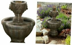 Outdoor Water Fountain, 2 Tier Lion Head Fountain With Natural Looking Stone