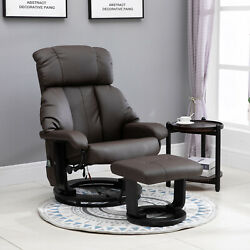 Freestanding Swivel Living Room Chair With High Density Cushion And Footrest