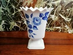 Hutschenreuther Germany Art Department Noble Large Vase Blue Rose Hand Painted