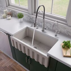 Alfi Brand Ab3318hs Reversible Fluted / Smooth Fireclay Farm Sink