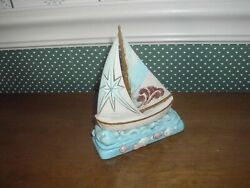 Jim Shore Costal-pint Size Sailboat Fig.-on Course For Happy Sailing New-2019