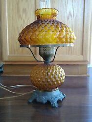 Vintage Amber Glass Gone With The Wind Table Lamp
