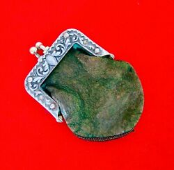 Antique Victorian Edwardian Silverplate Floral Repousse And Leather Coin Purse