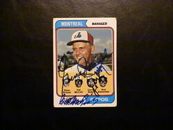 Expos Manager 1974 Topps Autograped Hof Gene Mauch Larry Doby Mclish Auto Card