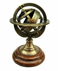Antique Solid Brass Vintage 5 Inches Armillary Sphere Globe For Home Decoration