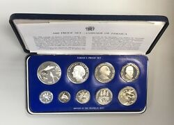 1980 Silver Proof Coinage Of Jamaica 9 Coin Set Box Coa Sealed