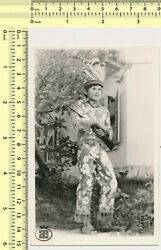 127 1970's Boy In Native American Indian Costume Kid Rifle Toy Playing Old Photo