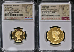 2017 Smithsonian Institution Gold Founderand039s 2pc Set Ngc Pf70 Ucam 1/4oz And 1/2oz